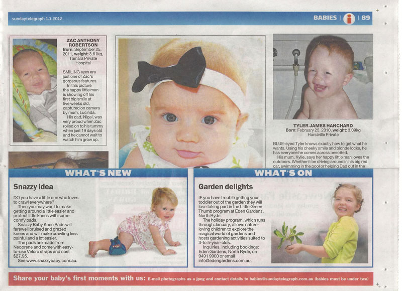 Snazzy Baby Knee Pads on Sunday Telegraph